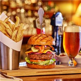 Signature burger, beer and fries