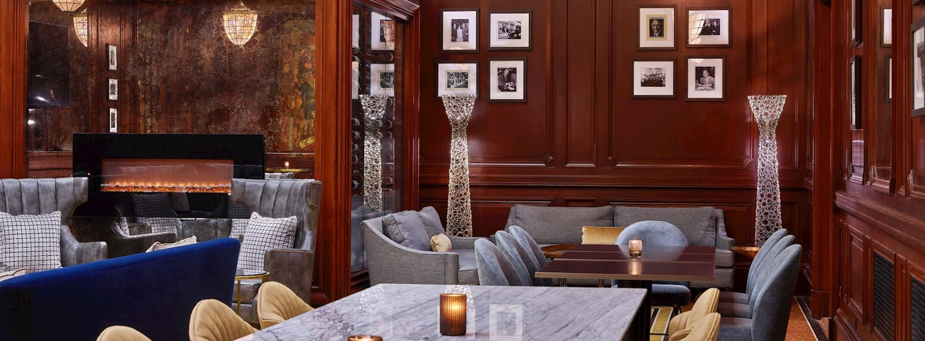 Intimate space with marble tables